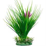 Künstliche Graspflanze mit Blüte grün/pink 18cm RP303
