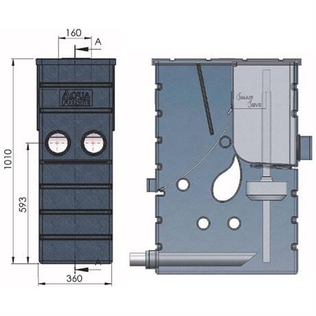 technische Zeichnung Aquaforte SMARTSIEVE - Schwerkraft Siebbogenfilter SK240