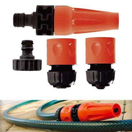 Verbinder, Anschlusstück und einfacher Sprenger für Gartenschlauch