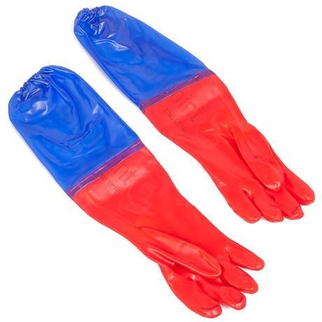 rot blaue Teichhandschuhe mit Strickbund am Oberarm