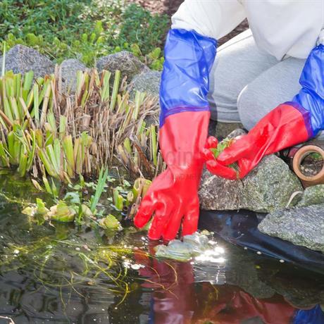 Gartenarbeit mit Teichhandschuhen