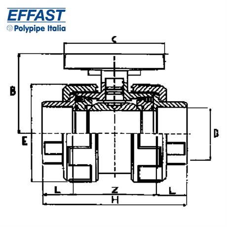 Skizze des PVC Kugelhahns von Effast
