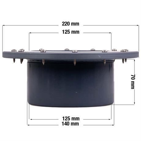 Maßangaben des Folienflansch DN 125 mm