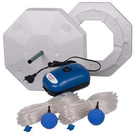 Styropor Eisfreihalter Set für Teiche komplett mit Belüfterpumpe