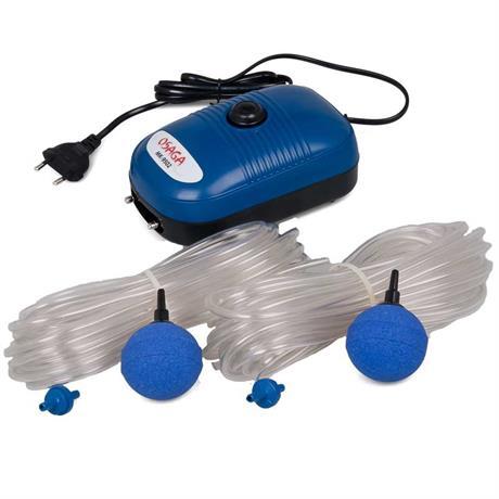 Teich Luftpumpe mit Schlauch und Ausströmer Kugel blau