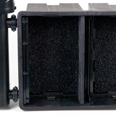 doppelte Filtereinheit mit schwarzem Filterschaum