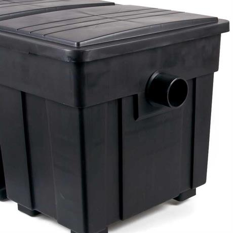 75 mm Ausgang am Kammerfilter zur PVC Rohr verklebung