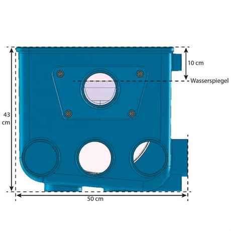 techniche Zeichnung mit Angabe des Wasserspiegel für den ATF-1 von AquaForte