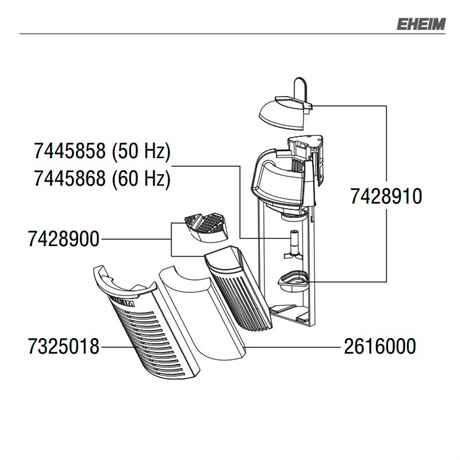 Expolosionszeichung Ersatzteile für EHEIM aquaCorner 60
