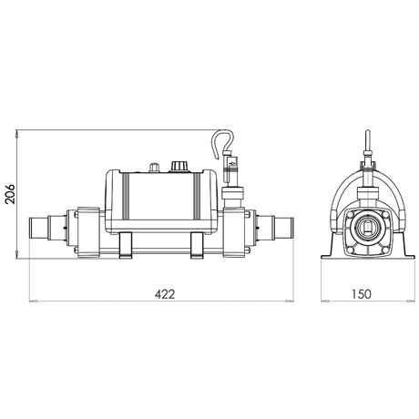 technische Zeichnung mit Abmessungen ELECRO Cygnet Teichheizung