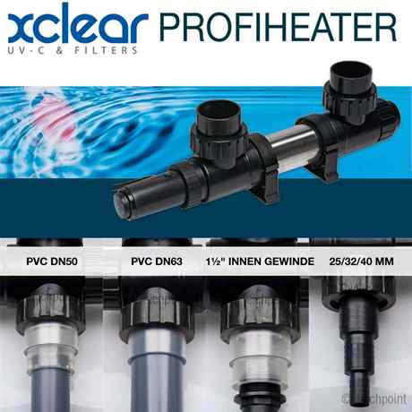 Der Profi Heater kann über einen Teichschlauch 25,32 und 40 mm oder ein PVC-Rohr DN 50 oder DN63 angeschlossen werden