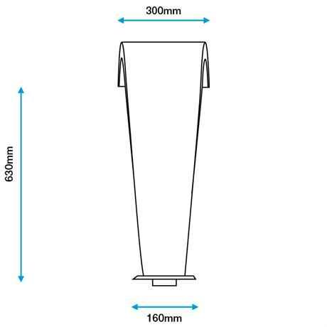 Technische Zeichnung mit Maße MOON 1 Rückansicht