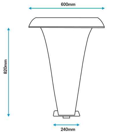 technische Zeichnung des MOON 2 Wasserfall mit Bemaßung