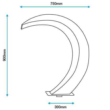 Skizze mit Bemaßung des MOON 2 Design Edelstahl Wasserfall