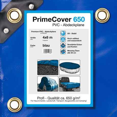 PVC Plane blau 650 g/m² 4 x 6 m (24m²)
