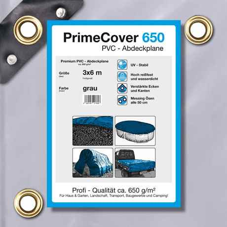 PVC Plane grau 650 g/m² 3 x 6 m (18m²)