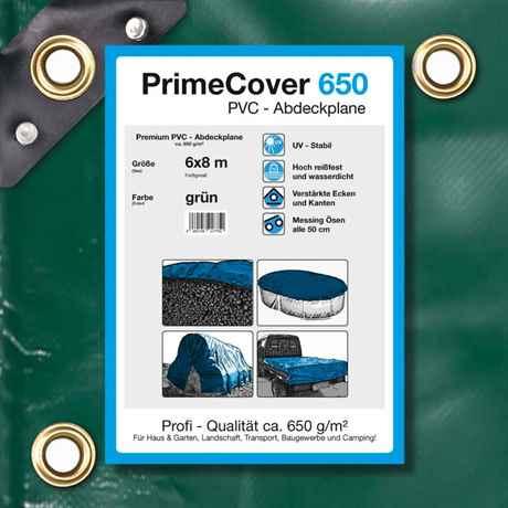 grün 650 g/m² PVC-Plane 6 x 8 m (48m²)