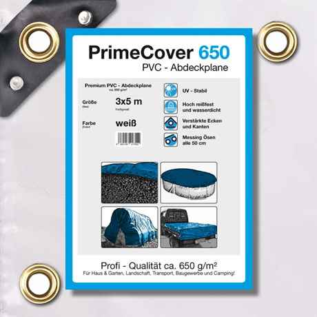PVC Plane weiss 650 g/m² 3 x 5 m (15m²)