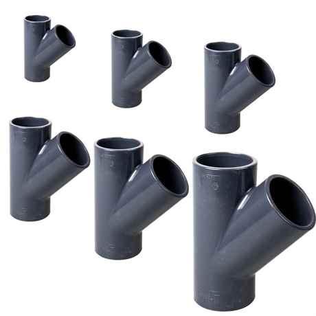 PVC-T-Stück 45 Grad mit Klebemuffe 20, 25, 32, 40, 50, 63mm