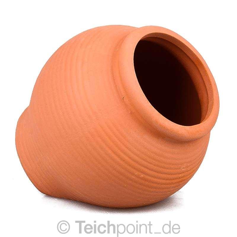 Aquarium-Deko-Vase-Amphore-fuer-Krebs-Wels-Laich-Hoehle-aus-Ton-schwarz-terra