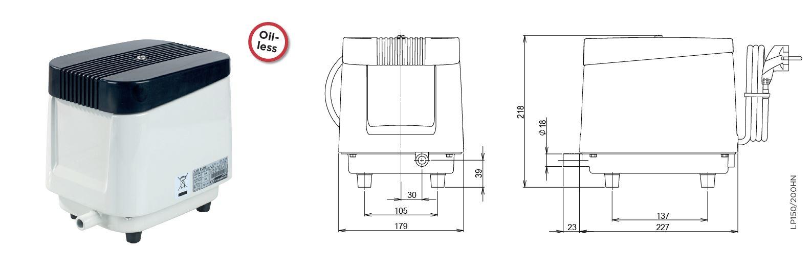 Die Abmessungen der Thomas PL Luftpumpen by Gardner Denver als Technische Zeichnung