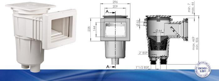 AstralPool Skimmer 17.5 für Folien- und Betonbecken 265 mm