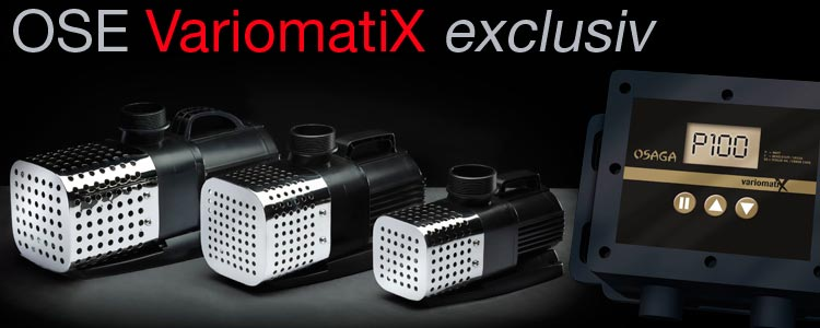 Die neue Osaga VariomatiX exclusiv OSE VX Regelbare Teichpumpen Serie mit Ansaugkorb aus Edelstahl